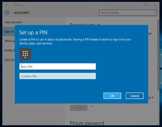 windows 10 pin