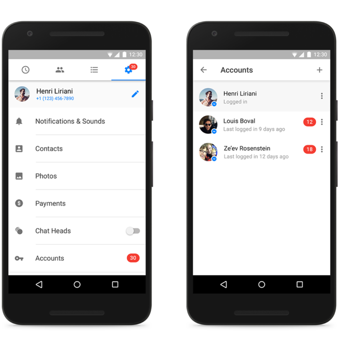 Facebook Messenger multiple accounts for Android