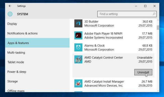 Uninstall apps using Setting in Windows 10