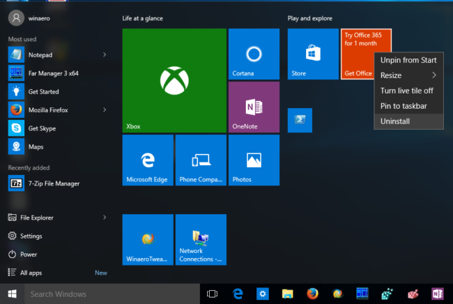 Start Menu Apps Uninstallation