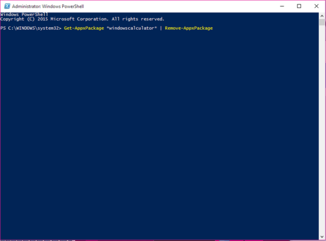 Powershell Apps uninstallation in Windows 10
