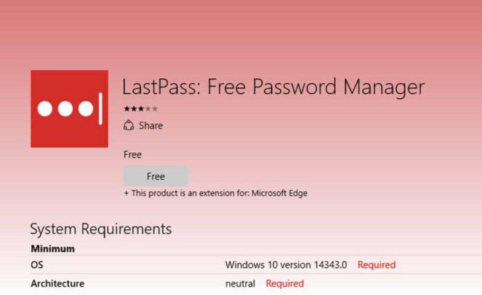 LastPass extension for edge