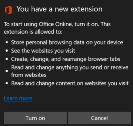 Office Online Edge extention