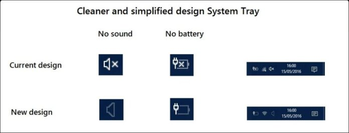 New Cortana Setting, system tray, sound icon, battery icon