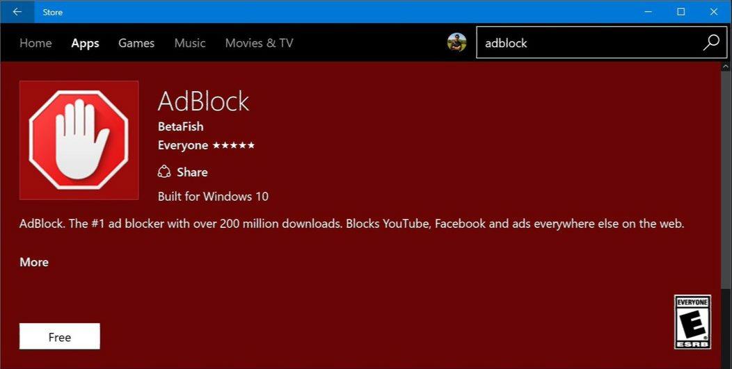Windows 10 Adblock and Adblock Plus