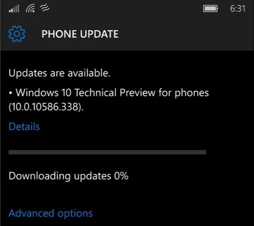 Mobile Build 10586-388 release preview