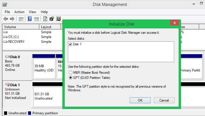 Initialize Disk, and GPT Windows 10