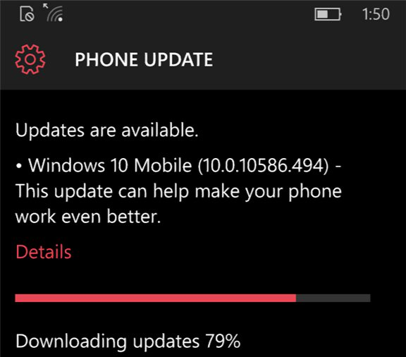 July update Windows 10 Mobile Build 10.0.10586.494