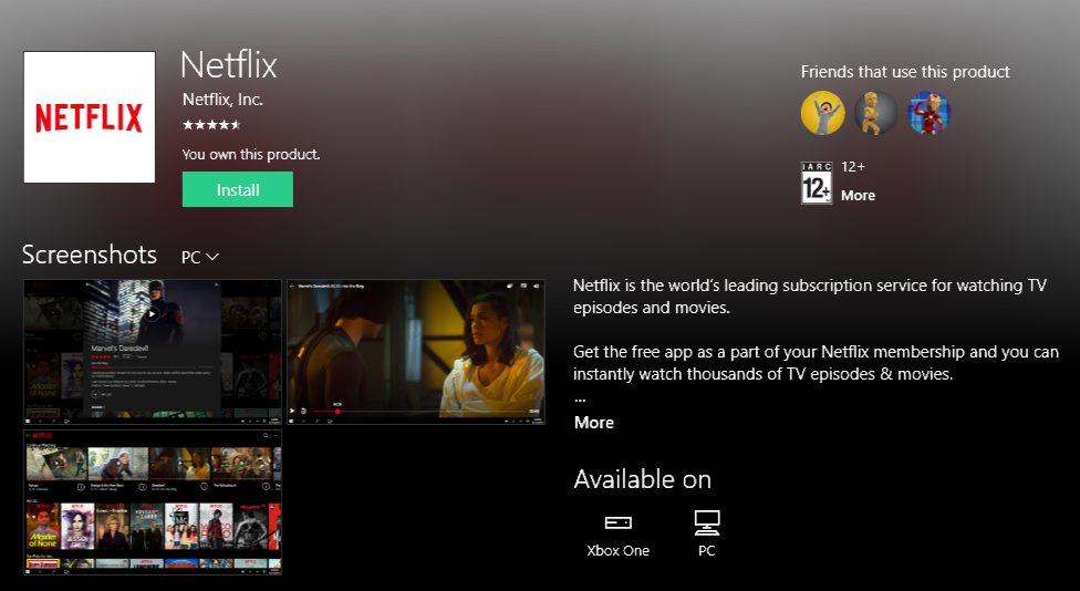 Netflix UWP app Xbox One