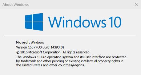 Windows 10 RTM Build 14393