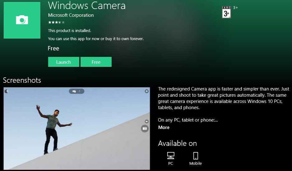 Windows Camera UWP app Xbox One