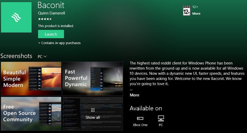 baconit UWP app Xbox One