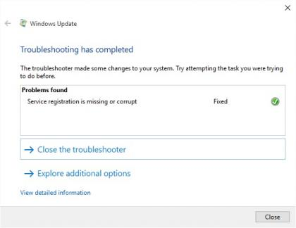 Build 14393 update troubleshooter