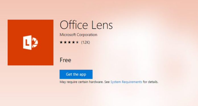 New Office Lens UWP app for PC
