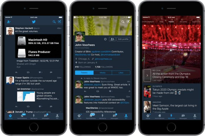 Twitter night mode for iOS