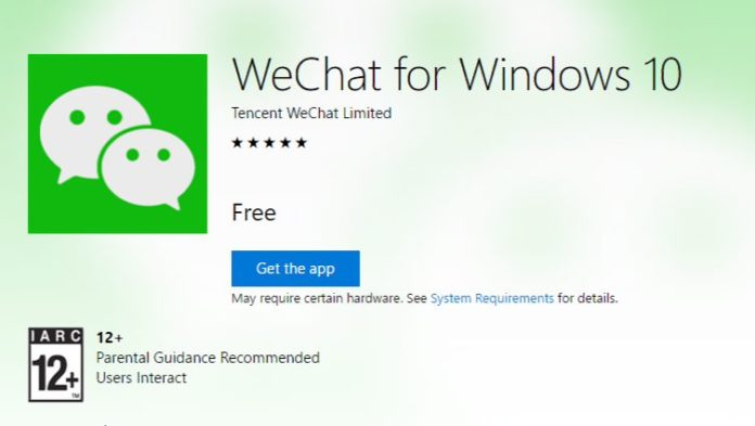 WeChat UWP app for Windows 10