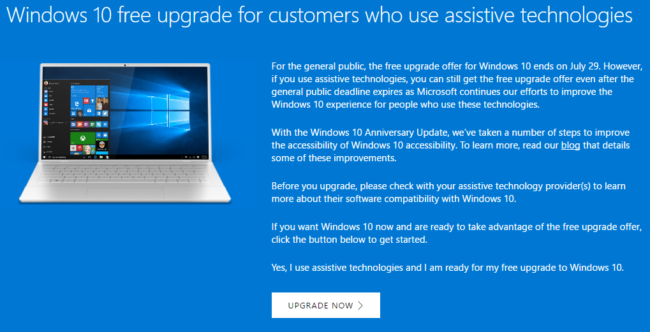 Windows 10 free upgrade with assistive technologies