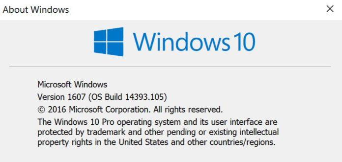 update KB3176938 build 14393.105