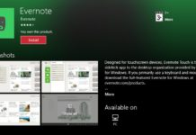 Evernote app Windows 10
