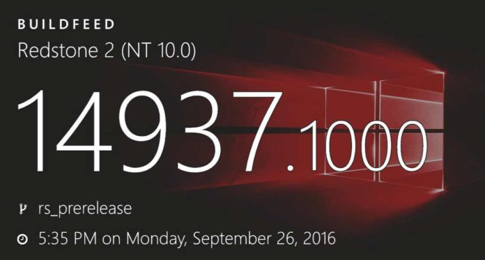 Windows 10 PC build 14937 and mobile build 10.0.14937.1000
