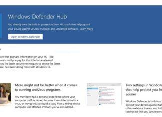 Windows Defender Hub app