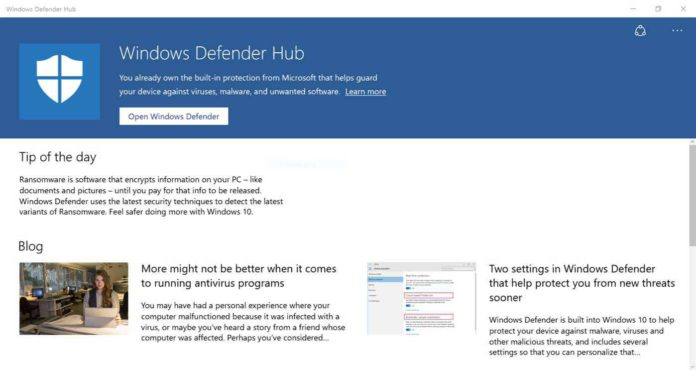 Windows Defender Hub app