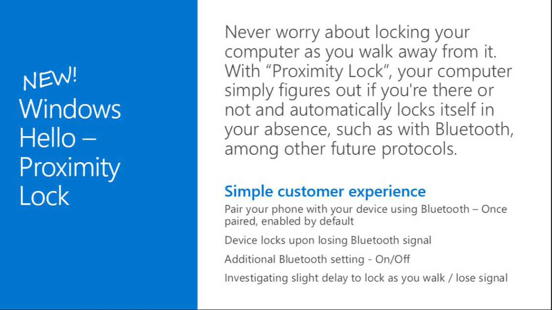 Windows Hello Proximity Lock