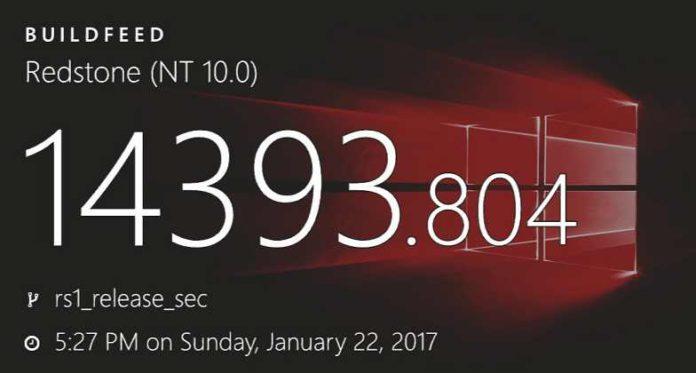 Windows 10 cumulative update Build 14393.804