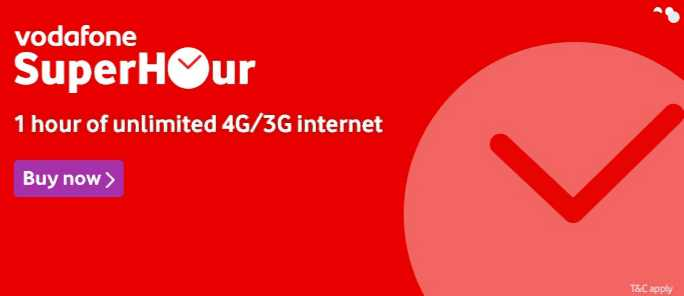 Vodafone's SuperHour unlimited data packs