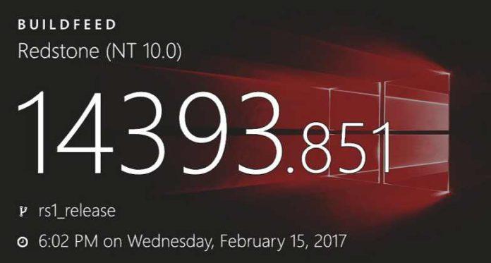 Windows 10 build 14393.851