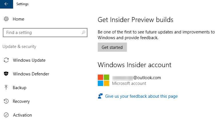 Windows 10 Insider Get Started