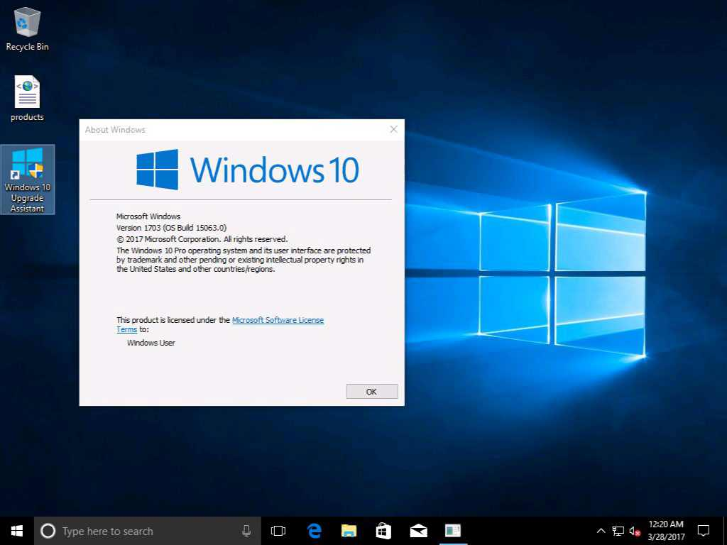 Windows 10 version 1703 desktop
