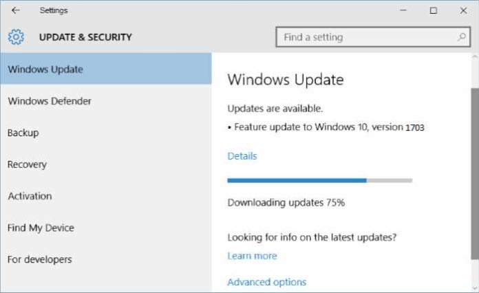 Windows 10 version 1703 download stuck
