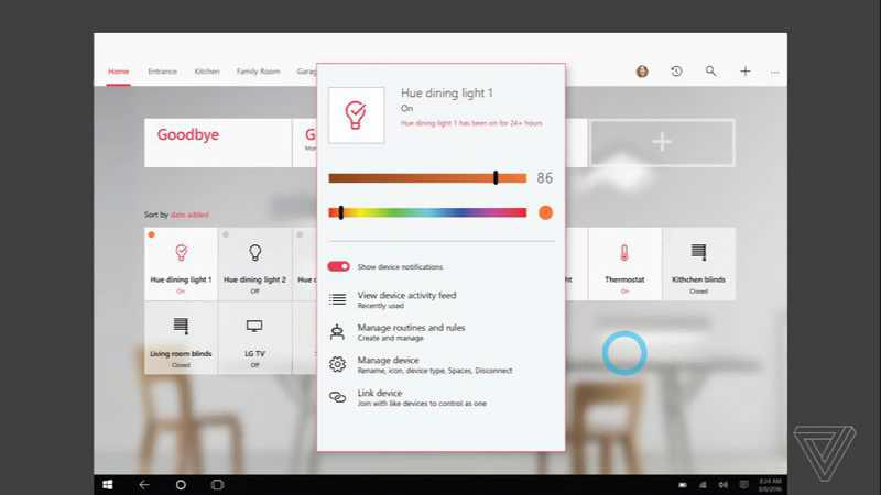 Windows 10 HomeHub Philips Hue light settings