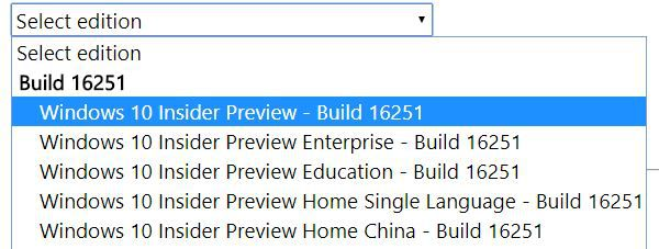 Official Windows 10 build 16251 ISO