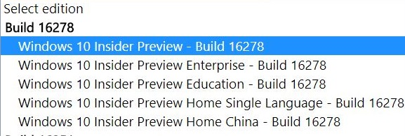 Windows 10 build 16278 ISO