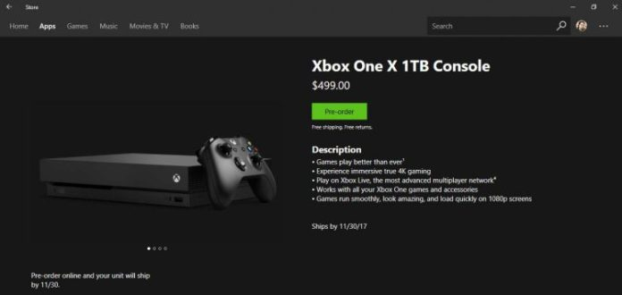 Xbox One X at Windows Store (1)