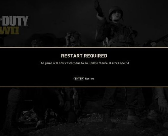 Call of Duty WWII error code 5
